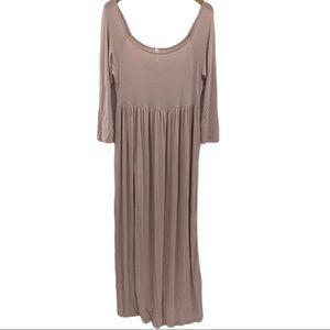 24/7 comfort apparel light tan maxi dress Large